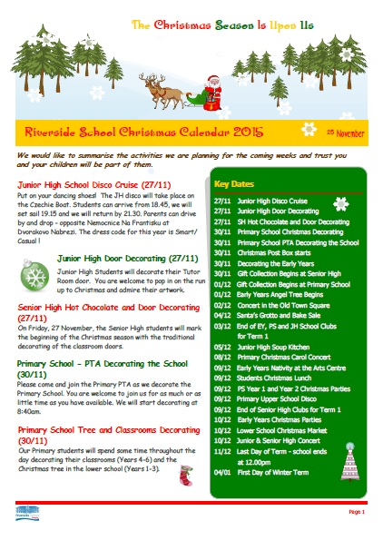 Christmas Newsletter 2015 page 1