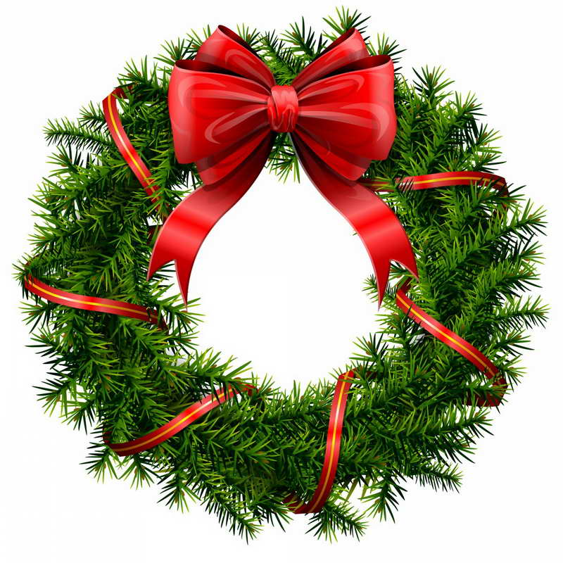 clipart-christmas-Christmas-Wreath-With-Red-Ribbon-Clip-Art