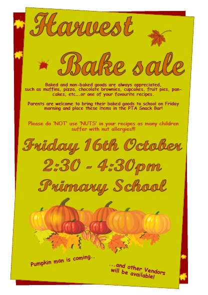 Harvest Bake Sale 2015 PS
